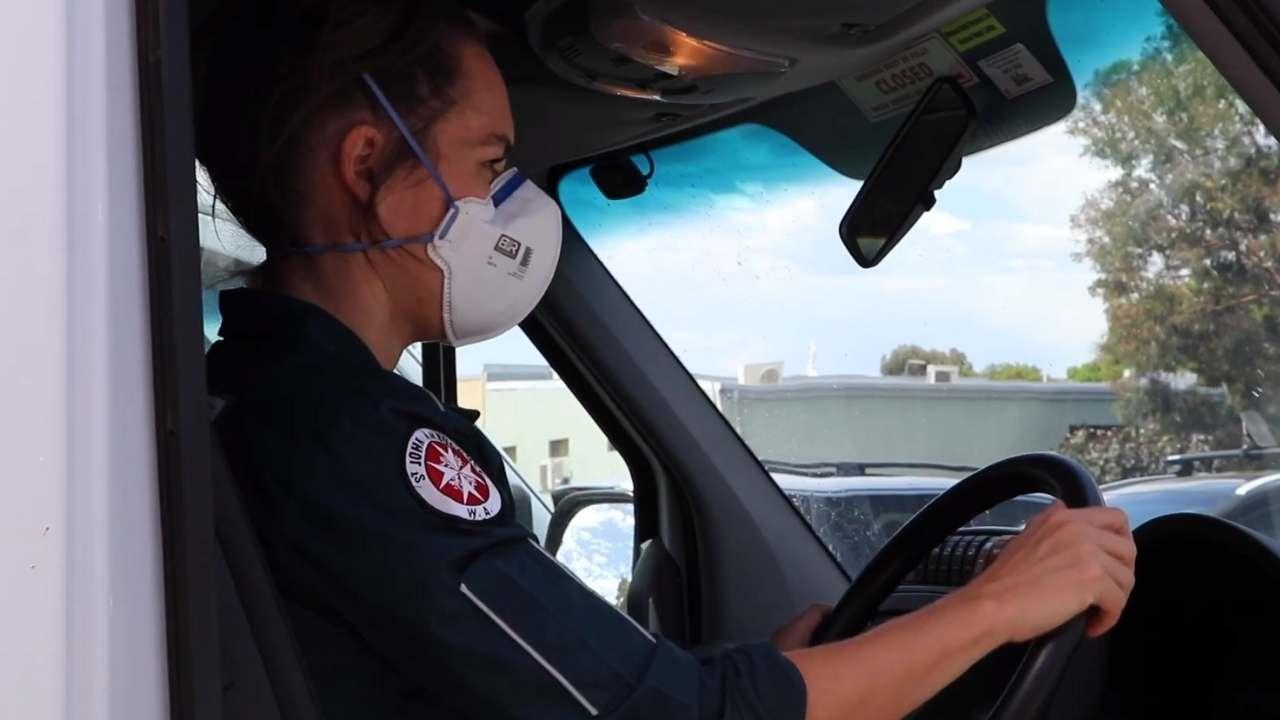 St John WA paramedic wearing mask