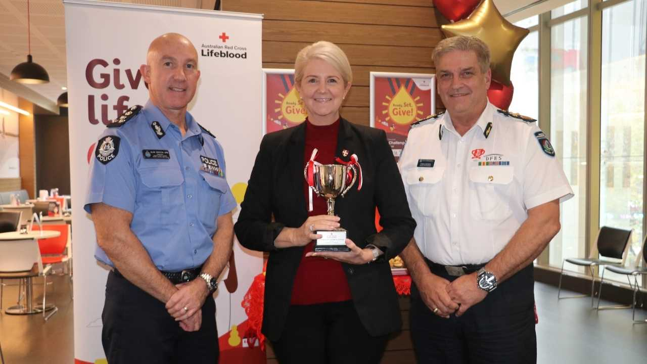 St John WA Chief Executive Michelle Fyfe has joined more than 100 members of the St John WA workforce who have rolled up their sleeves to donate blood, plasma and platelets for the 2021 Australian Red Cross Emergency Services Blood Challenge.